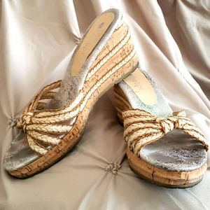 Two Lips Slip-on Braided Style Cork Wedge Sandals